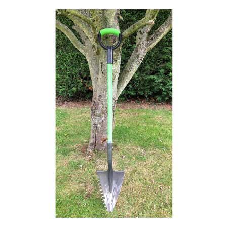 Inverted v shape multipurpose shovel with serrated edge