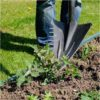 Wonder shovel with pointed head and serrated side makes digging out plants and weeds easy