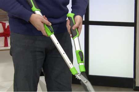 Telescopic garden shears feature adjustable handles as shown here. Reach tall hedges and cut into shape