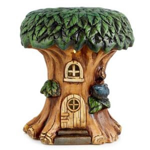 Solar powered garden fairy house stool