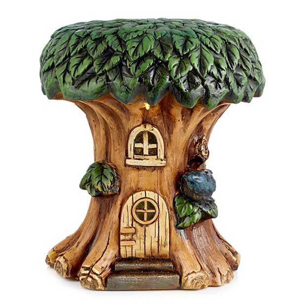 Solar powered garden fairy house stool