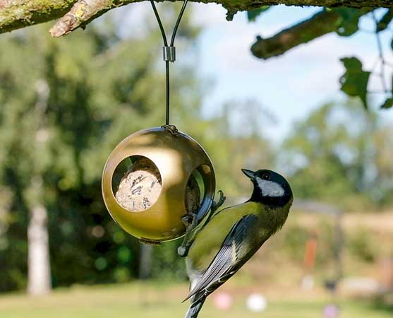 Bird feeder Christmas baubles which hold one fatball and come in packs of silver and gold
