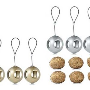 Gold and silver bird feeder Christmas Baubles with fatballs to hang outdoors