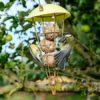 Cone shaped bird feeder with fatballs