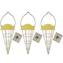 3 cone shaped bird feeders with 12 fatballs