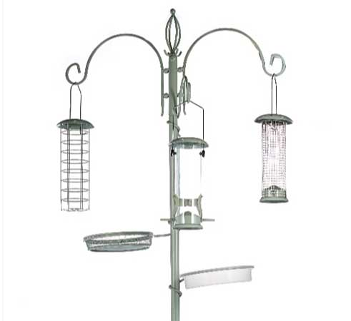 ennings bird feeding station with 5 feeders finished in a sage colour
