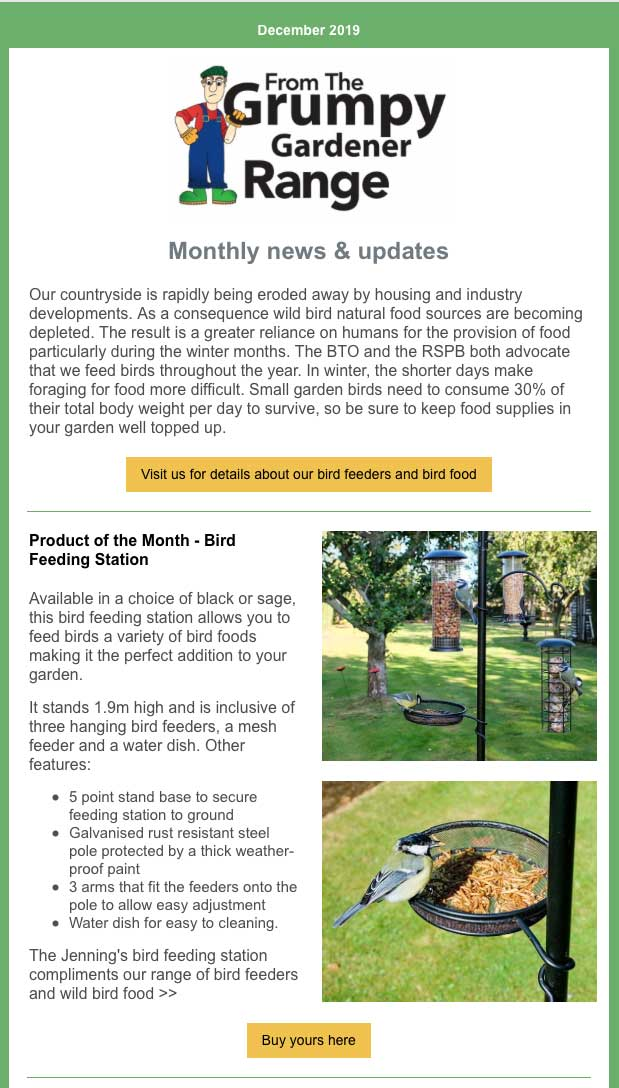 December Newsletter sent to The Grumpy Gardener subscribers