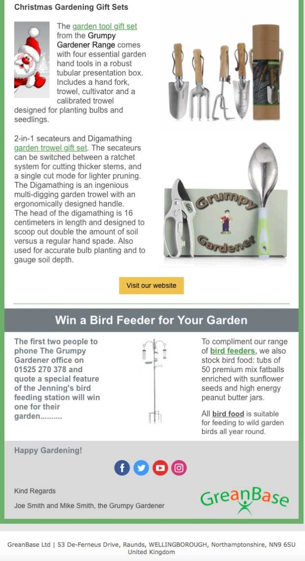 December newsletter sent to subscribers advertising the new bird feeder