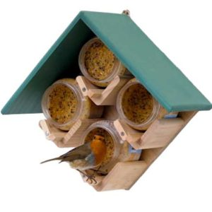 Four nutpecker jar bird feeder in green