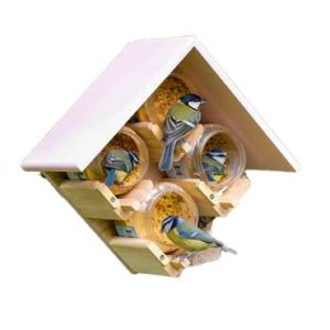 Four Jar Peanut Butter Bird Feeder with Pink coloured MDF roof