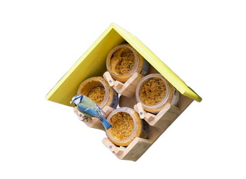 Four Jar Peanut Butter Bird Feeder with a Yellow MDF Roof