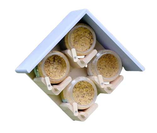 Four jar bird feeder in Lavender