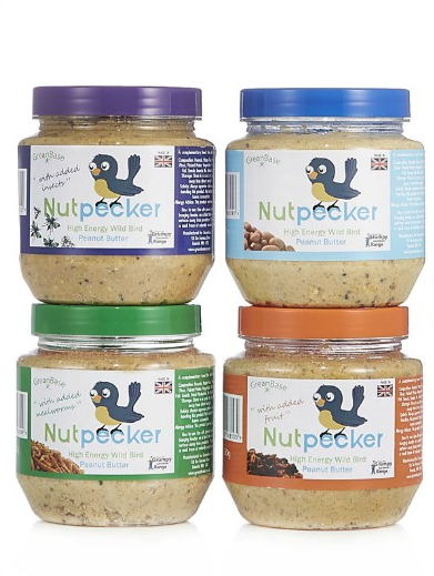 4 Jars of NutPecker peanut butter bird food mixers