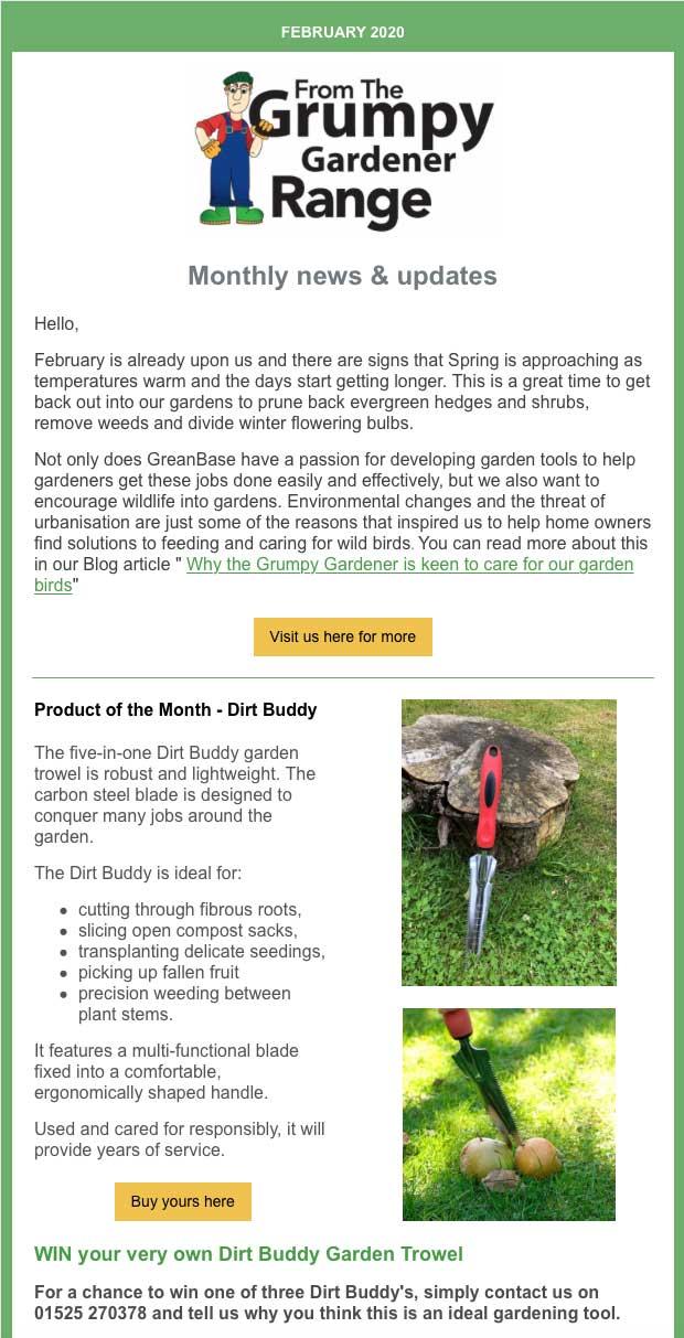 February Newsletter sent from The Grumpy Gardener