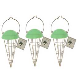 Cone shaped bird feeder green lid and comes in a pack of 3 with 12 fatballs