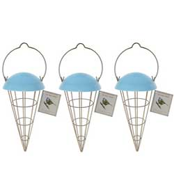 Cone shaped bird feeder with blue top. Comes with 12 Fatballs