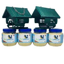 2 bird houses and 4 jars of Nut Pecker bird food