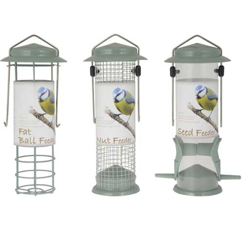Three premium sage colour hanging bird feeders for fatballs, seeds and nuts