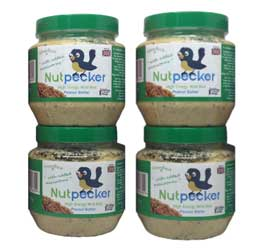 The Nut Pecker jars with a green lid includes added mealworms (Ingredients: Peanuts, maize flour, wheat flour, flaked maize, vegetable oil, beef fat, seeds, dried mealworms).