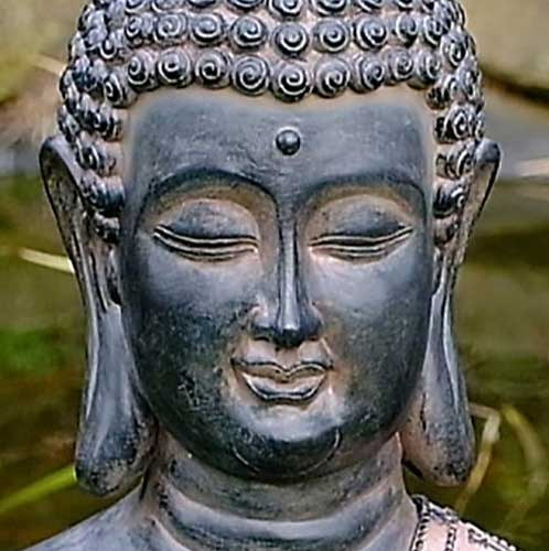 Close up of Buddha facial features