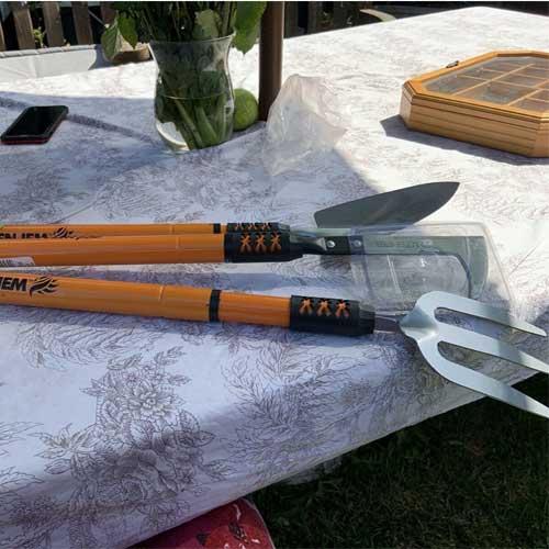 Set of 3 Telescopic Fork, Weeder & Spade Garden Tools