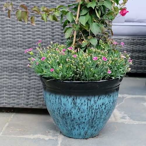 Set of two light weight planters in blue