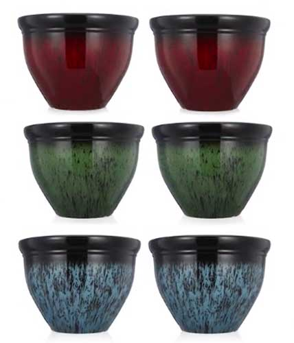 Sets of two flower pots in a choice of colours