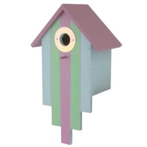 Decorative multi-coloured wooden bird feeder