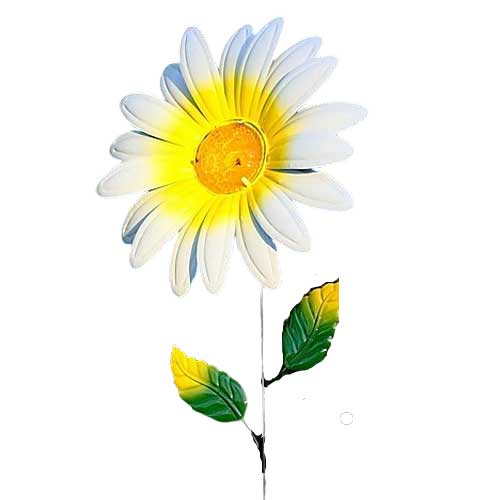 A metal flower garden stake featuring a large white and yellow daisy head with deep green leaves along the stem.