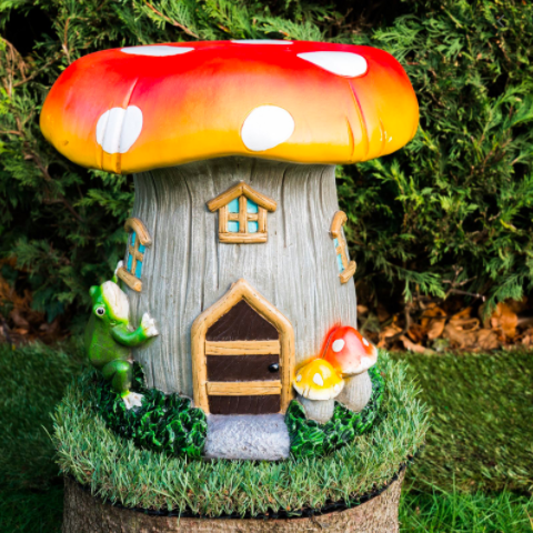 Toadstool solar powered garden ornament