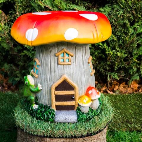 Toadstool solar powered garden ornament