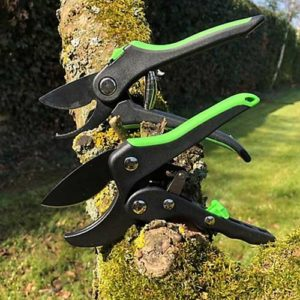 Two-piece set of secateurs from Grumpy Gardner features a pair of ratchet anvil pruners plus a pair of bypass pruners