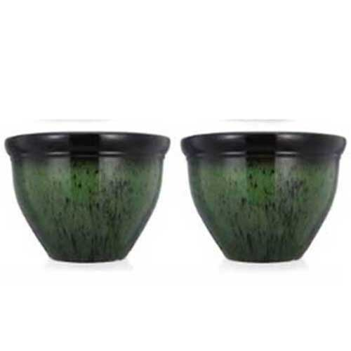 Set of two large green planters