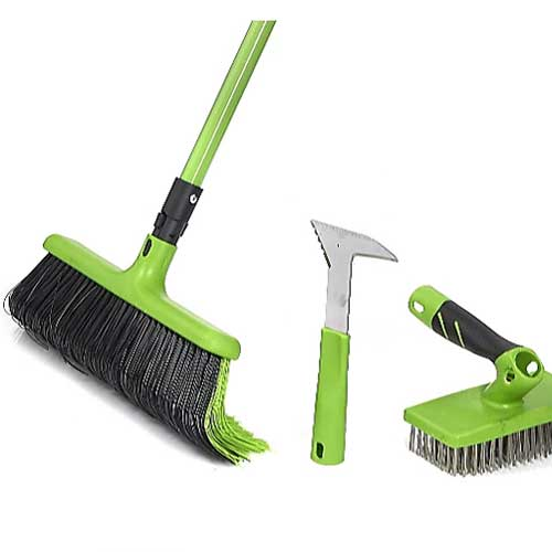 Rake broom with two additional attachments to scrape out weeds between paving and wire brush to clean paving