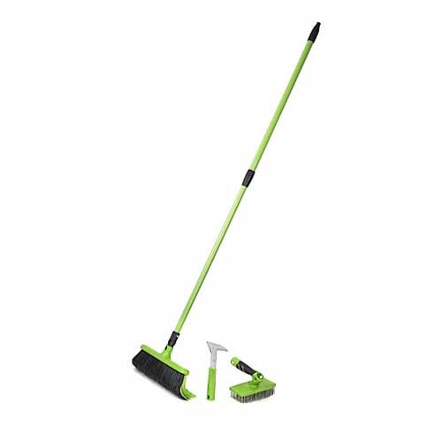 Telescopic rake broom with additional attachments including a paving scraper