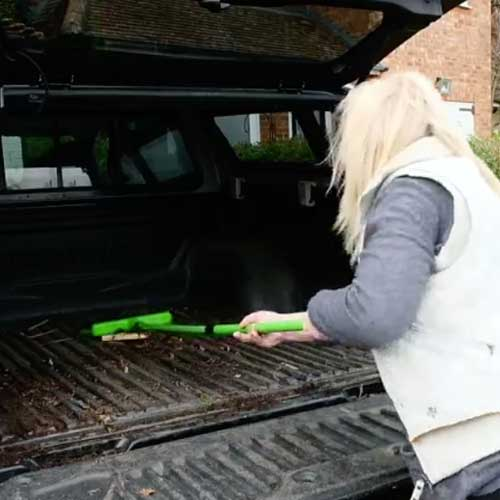 Rakebroom is a multi tool used to sweep and rake. Use it to sweep debris from car boot