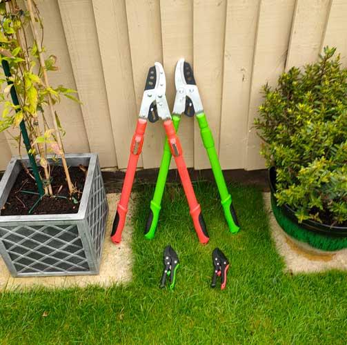 Ratchet lopper and secateur set in green or orange