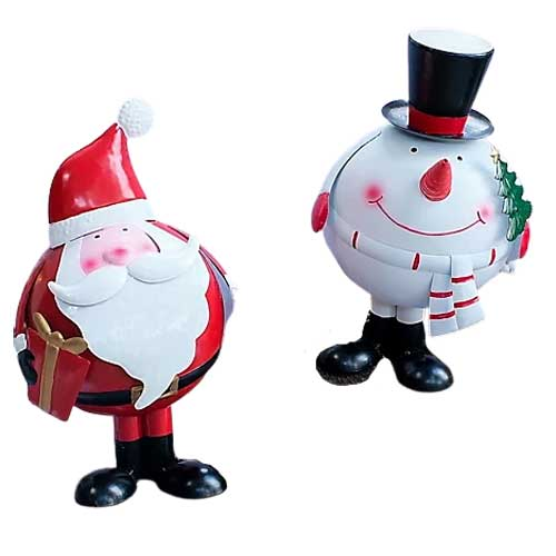 Bobbing snowman and santa from The Grumpy Gardener