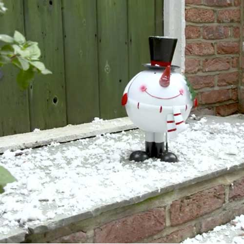 Bobbing snowman at front door