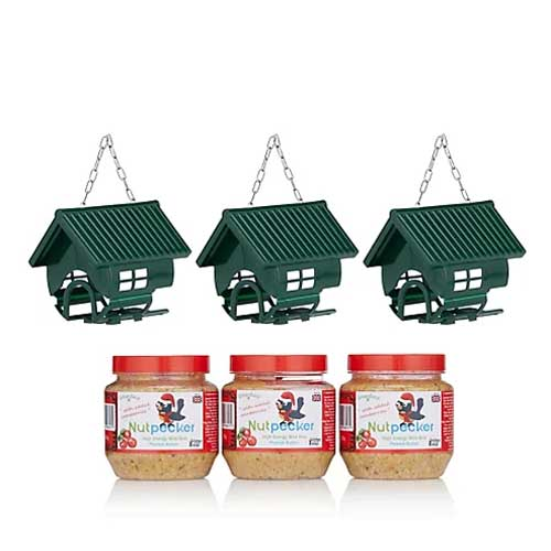 3 bird feeder houses and 3 jars of Nutpecker peanut butter bird food with added cranberries