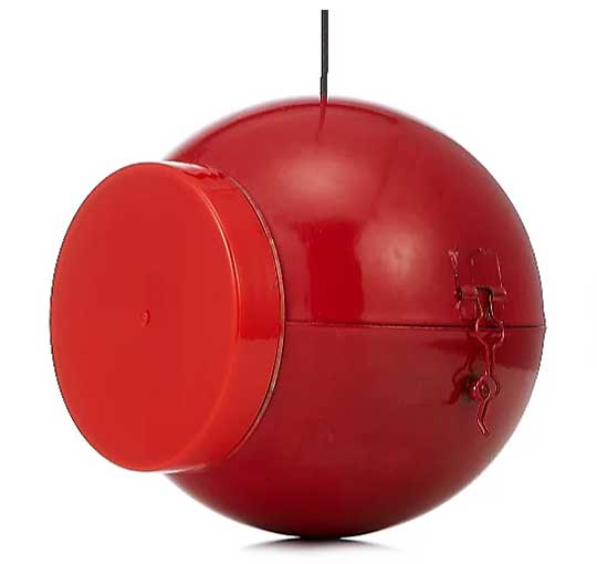 Red Christmas Bauble which holds a Nutpecker peanut butter bird food jar