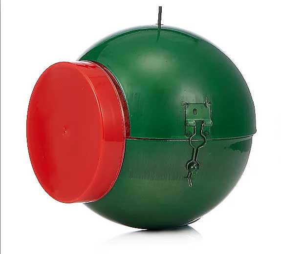 Green Christmas Bauble bird feeder designed to hold the Nutpecker peanut butter food jar