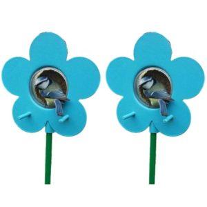 Blue flower bird feeder for the Nutpecker peanut butter bird food jars