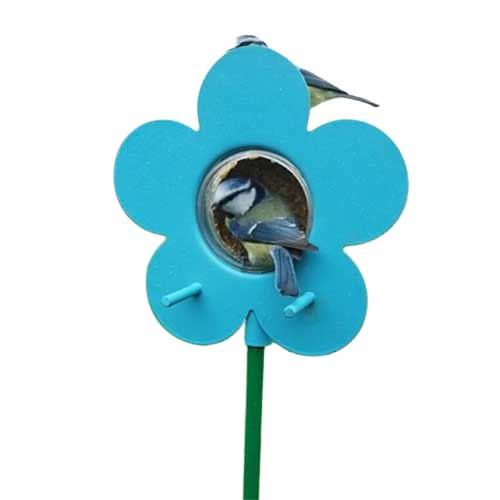Blue flower bird feeder for the Nutpecker peanut butter bird food jars