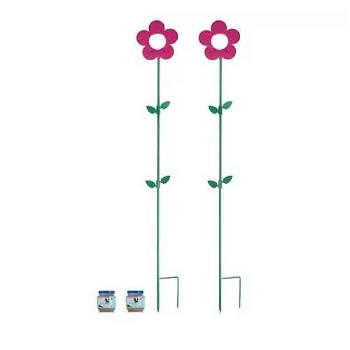 Grumpy Gardener 2 Flower Bird Feeders and 2 x Peanut Butter Bird Food Jars in Pink