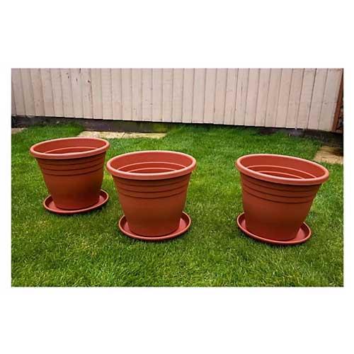 Jennings Set of 3 x 35cm Terracotta Plant Pots & Saucers