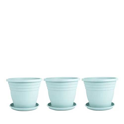 Jennings Set of 3 x 35cm Plant Pots & Saucers in light green