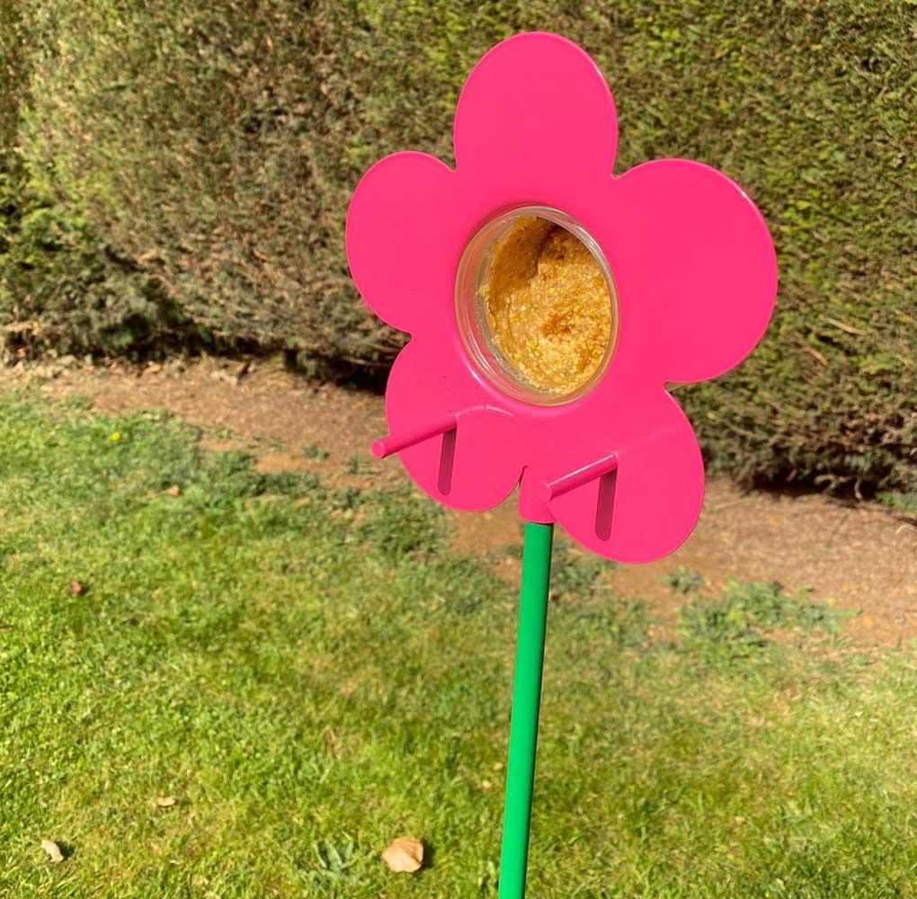 Grumpy Gardener 2 Flower Bird Feeders and 2 x Peanut Butter Bird Food Jars in Pink