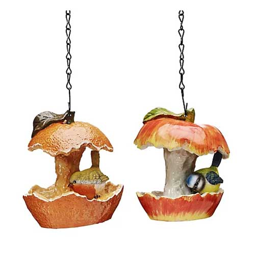 A duo of hand finished bird feeders in the shape of a half eaten apple and orange with hanging chain