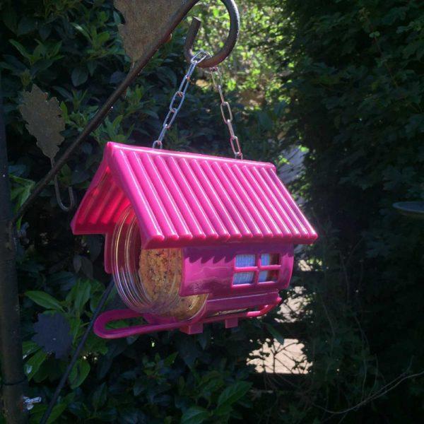 Purple bird feeding house designed to hold one jar Nutpecker bird food